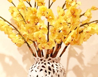 "Faux 34"" Yellow Cymbidium Orchid Spray"