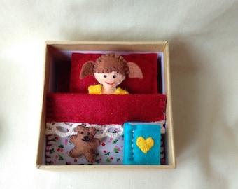 Handmade collectable keepsake felt doll.
