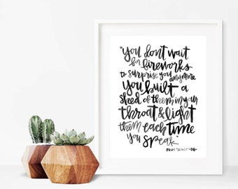 Fireworks // A4 Calligraphy Poetry Line Print