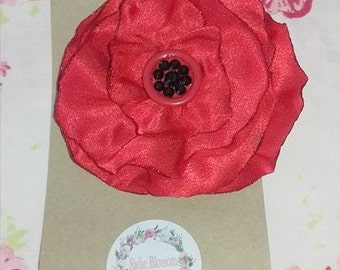 Flower hair clip, Red Satin poppy Crystal and button center