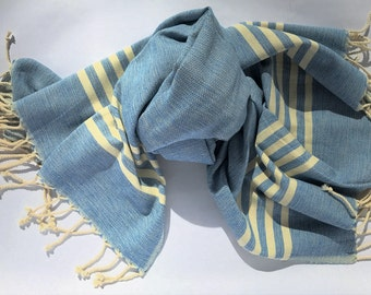100% COTTON TURKISH TOWEL- Pestemal, Peshtemal, Beach Towel, Fouta, Striped Towel, Towel, Turkish Bath Towel, Peshtemal Towel, Hammam Towel