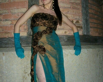 Dress couture strapless evening seductive and luxurious silk with flowers