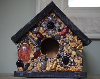 Mosaic Rock & Jewel Birdhouse Black Silver Salamander Bloodstone Bullets Goth Bird House