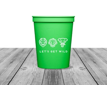 Personalized Cups, Bachelorette Cups, Birthday Cups, Party Cups, Tailgate Cups, Beer Cup, Plastic Cups, Cups, Safari Party, Let's Get Wild