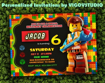 Lego  invitation-Lego Party-Lego Birthday Invitation-Lego Movie Invitation-Boy invitation-Digital file