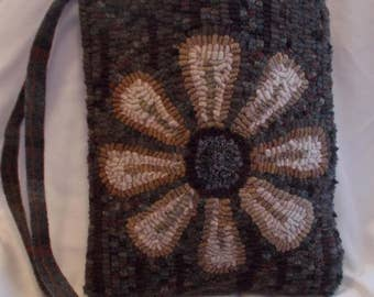 Hand hooked wool purse