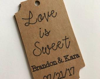 Custom Love is Sweet Favor Tags - Custom Wedding Favors - Wedding Shower Favors - Love is Sweet Wedding Decor - Love is Sweet Favors