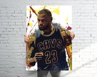 Lebron James Cleveland Cavaliers  - Sports Art Print Poster - Watercolor Abstract Paint Splash - Kids Decor - Gifts for Men - Man Cave