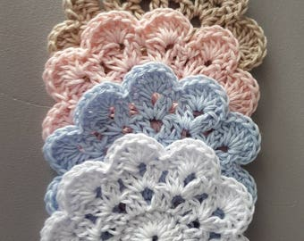 Crochet coasters - available in 4 different colours