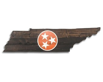 Tennessee State Shape Cutout Rustic Wall Hanging With Orange White Tristar Sign Home Decor Vols