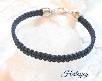 Macramee bracelet in dark blue