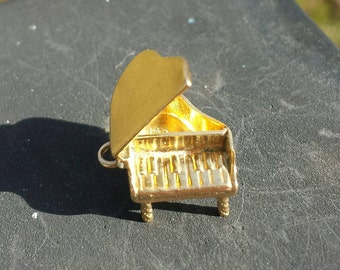ANTIQUE Hidden Compartment Piano Charm for Necklace or Bracelet, 14k Gold