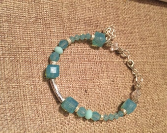 Blue pacific opal and sterling silver bracelet