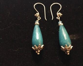 Blue Jade earrings , gemstone earrings