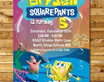 SpongeBob Birthday Invitation, SpongeBob Birthday. SpongeBob Invite