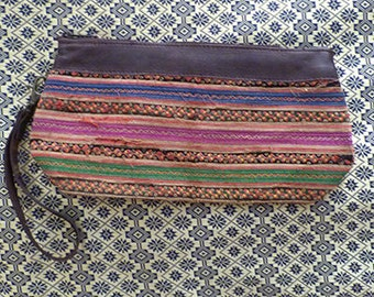 Hmong embroidered zip purse leather top