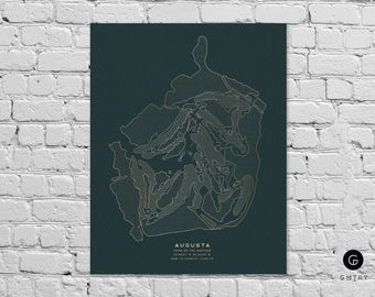 "Augusta National Golf Club Print - 8""x10"" Gold Foil Golf Print 