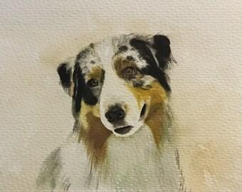 Custom Pet portrait watercolor painting-Original watercolor portrait-Cat portrait-Dog portrait-Animals portrait etc-one figure