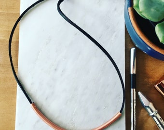 SALE: Copper and Leather Necklace