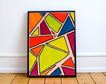 Geometric Painting - Neon Art - 80s - Abstract Art - Acrylic Painting - Abstract Painting - Home Decor - Gift - Original Art -