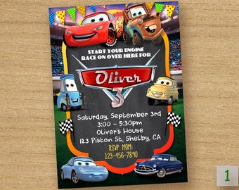 Cars Birthday Invitation, Disney Cars Party Invite, Cars Lightening McQueen Digital Printable, Cars Chalkboard Custom Invitation
