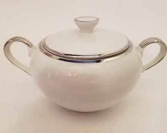Barker Bros Sugar Bowl 63-644 White Porcelain Trimmed in Platinum