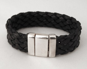 925 sterling Silver Men's Bracelet and black braided leather