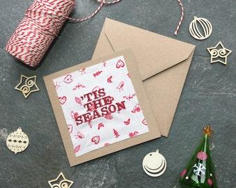 Tis the Season Red Metallic Embroidered Handmade Christmas Card