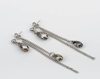 2 in 1 earrings, Swarovski Crystal, stainless steel