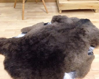 Large stone brown sheepskin rug, large fur rug, organic baby playmat, sheepskin