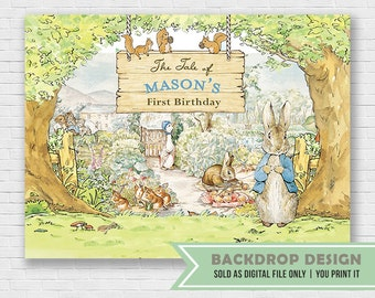 Peter Rabbit Backdrop // Birthday Baby Shower party backdrop banner//