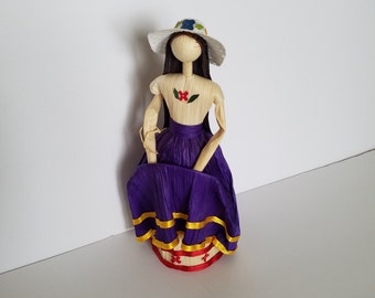 Mexican corn husk doll, Mexican folk art, Mexican art, Corn husk doll