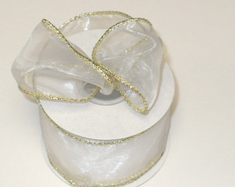 """Metallic gold wired edge sheer 2""""x 10 yards, color white"""