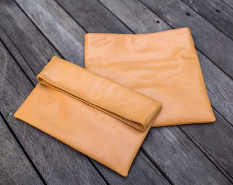 Tan Leather Clutch - Fold Over Clutch -  Leather Evening Bag - Tan Clutch Purse - Goat Leather Bag - Leather Clutch Purse - Boho Handbag
