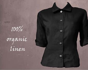 Linen blouse, basic linen blouse, tailered linen blouse