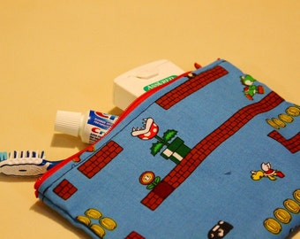 Mario Makeup Bag - Pencil Bag - Travel Bag - Zipper Bag - Mario Fabric Wallet - Geeky Makeup Bag - Coin Purse - Dice Bag