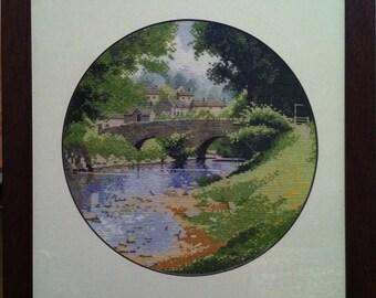 Cross stitch picture Bridge.