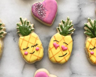 Pineapples in love Valentine's Day Sugar Cookies