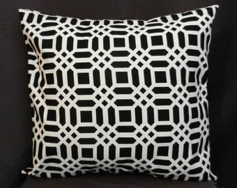 Pillow Cover 18 x 18, Black and White Lattice Print