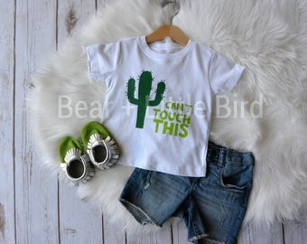 Kids Can't Touch This Green Cactus Graphic T  Shirt Boys Girls Infant Toddler