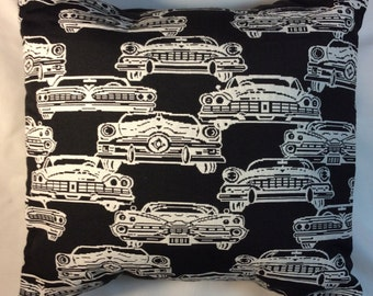 Black and white Throw pillow or white and black Classic car pillow- Pillow Cover -toss pillow-vintage pillow