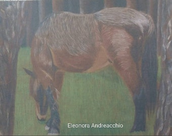 Print of an original drawing colored pencils on wood Portrait horse in the Woods