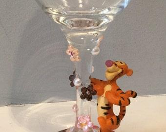 Tigger Wine Glass, disney wine glass, gem wine glass
