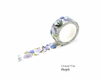 Purple Floral - Washi Tape, Masking Tape, Planner Stickers, Stationery,15mm*7m,  Flower,TA06-1