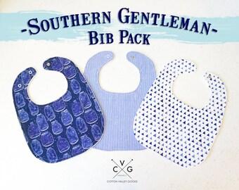 3 Pack: Drool Baby Drool Southern Gentleman Bibs (Snaps)