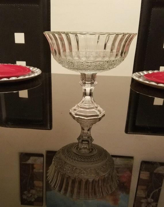 Floral glass vase pedestal wedding centerpiece