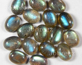 15 Pieces Natural Blue Flashy Labradorite Moonstone Oval Shape Gemstone Cabochon Flat Back