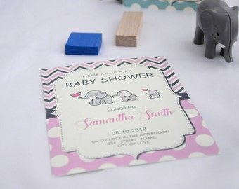 Elephant Baby-Girl Shower Invitation / Elephant Baby Shower Invitations Printable