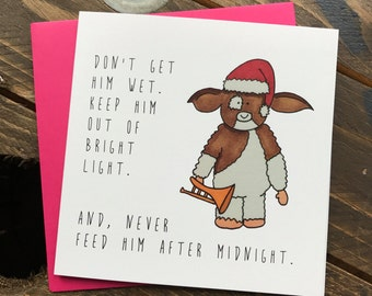 Gizmo Gremlins Christmas illustrated greeting card - Never feed him after midnight