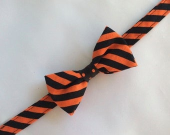 Boys Black & Orange Striped Bow Tie, Adjustable Bow Tie, Toddlers Bow Tie, Orange and Black Striped Child's Bow Tie, Black and Orange Tie
